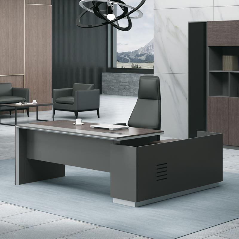 ADVANCE Γραφείο -Αρ-220x160cm Σκ.Καρυδί/Γκρι