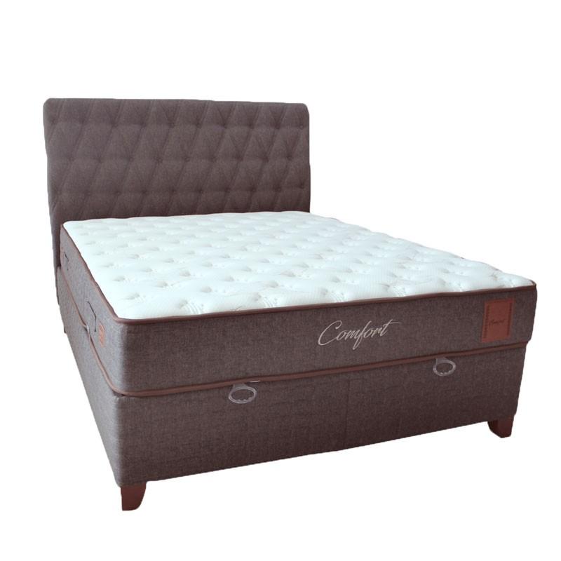 Κρεβάτι υπέρδιπλο με υφασμάτινη επένδυση χρ. καφέ, διαστ. στρώματος 160x200εκ.