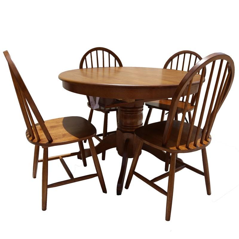 Σετ τραπεζαρίας Rustic-W 5τμχ. με ανοιγ. τραπέζι Φ107x76εκ. σε χρ. σκ. καρυδί
