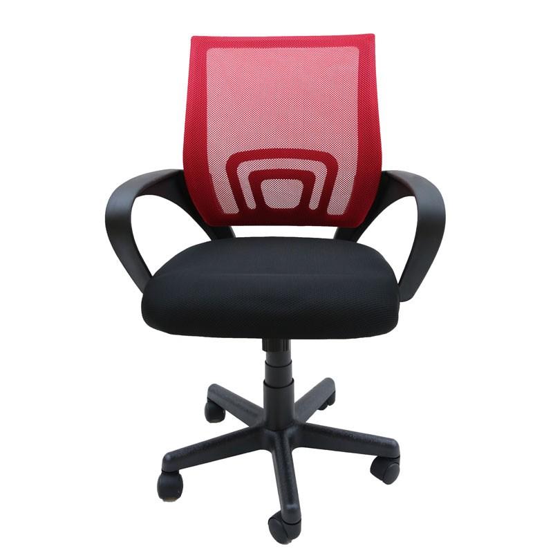 Πολυθρόνα γραφείου εργασίας σε χρ. κόκκινο με ανατομική πλάτη με δίχτυ HomePlus 01.01.0934
