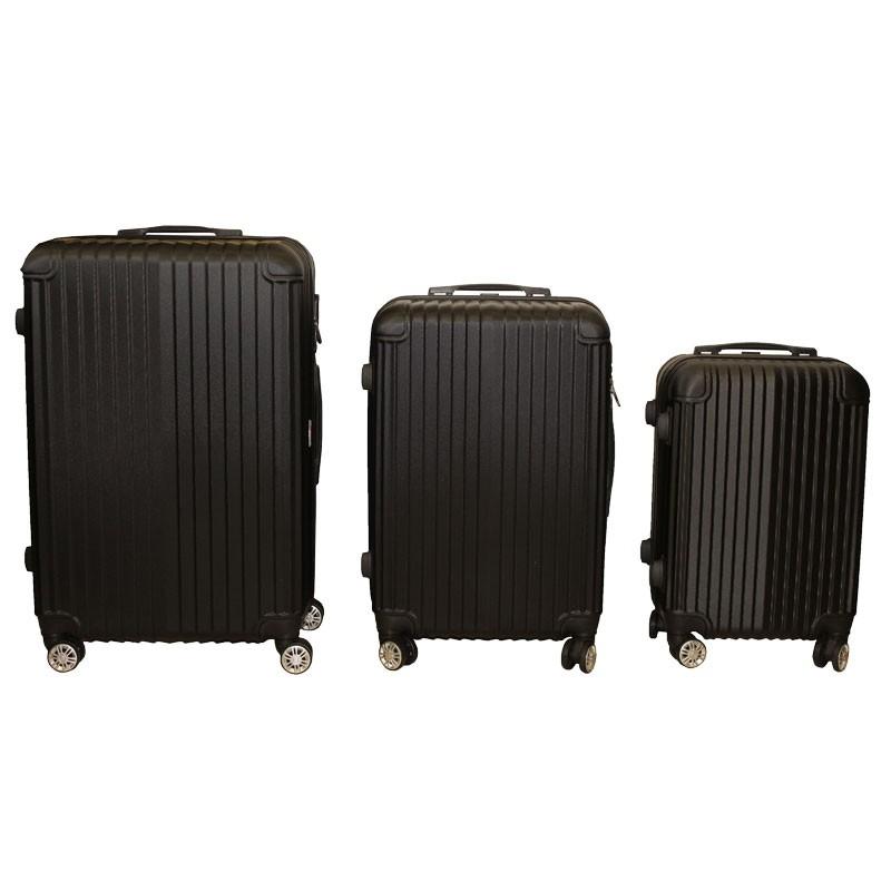 Σετ βαλίτσες τρόλλεϋ με σκληρό εξωτερικό σκελετό και κλειδαριά ασφαλείας, χρ. μαύρο, 3τμχ