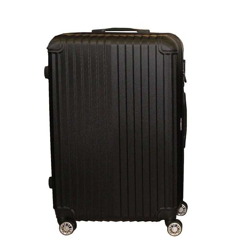 Βαλίτσα τρόλλεϋ με σκληρό εξωτερικό σκελετό και κλειδαριά ασφαλείας, χρ. μαύρο, 71x47x29εκ.