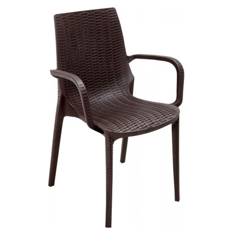 Καρέκλα με μπράτσα NIRVANA πλαστική, χρ. καφέ, HOMEPLUS 07.02.0029
