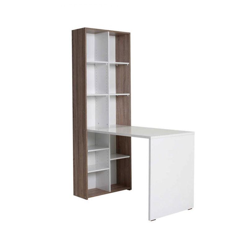 Γραφείο εργασίας με βιβλιοθήκη σε χρώμα λευκό high gloss 121x63x182εκ.