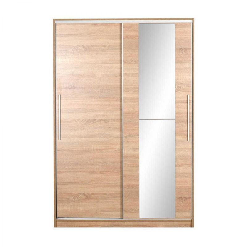 Ντουλάπα δίφυλλη συρόμενη με καθρέφτη, χρ. sonoma 120x52x182εκ. HOMEPLUS 07.01.0374