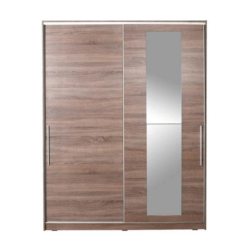 Ντουλάπα δίφυλλη με συρόμενες πόρτες χρ. latte 160x60x207εκ. HOMEPLUS 07.01.0375