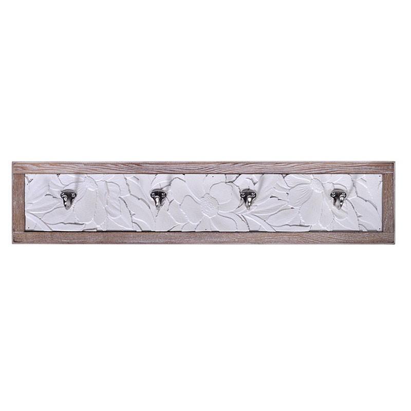 Κρεμάστρα τοίχου ξύλινη με 4 μεταλλικούς γάντζους, 70x15x2εκ.