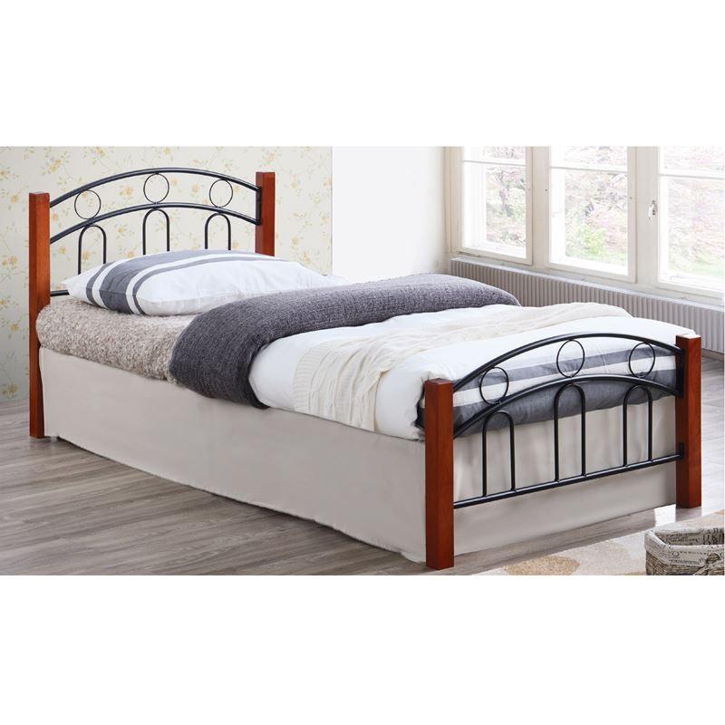 NORTON Κρεβάτι (για στρώμα 160x200cm) Mεταλ.Μαύρο/Ξύλο Καρυδί