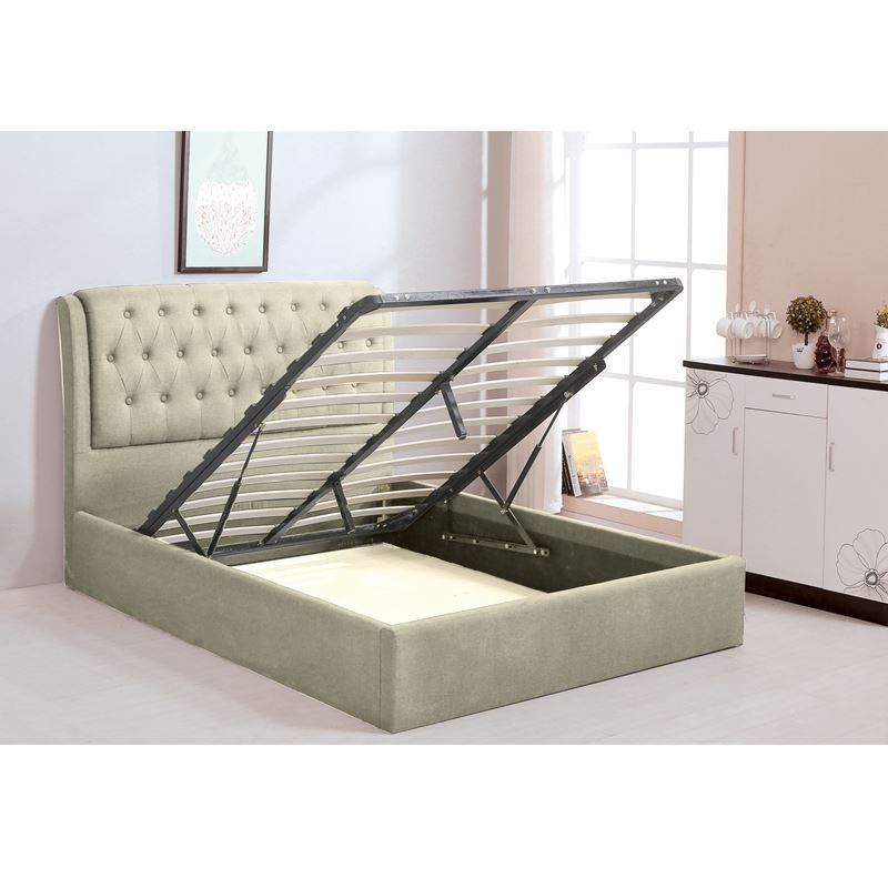 MAXWELL Κρεβάτι (για στρώμα 160x200cm) Ύφασμα Εκρού/Αποθ.Χώρος