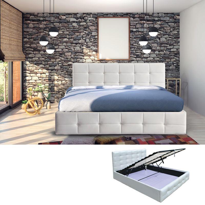 FIDEL Κρεβάτι (για στρώμα 160x200cm) Pu Άσπρο/Αποθ.Χώρος