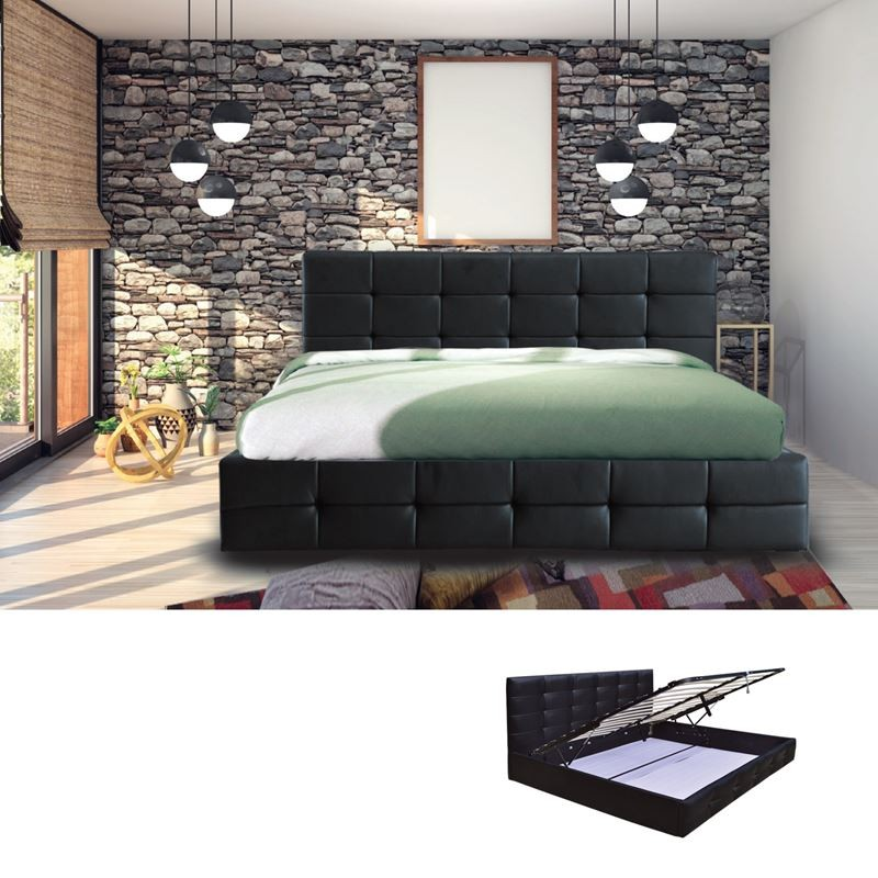 FIDEL Κρεβάτι (για στρώμα 160x200cm) Pu Μαύρο/Αποθ.Χώρος
